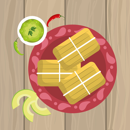 traditiona mexican food with avocado sauce vector illustration