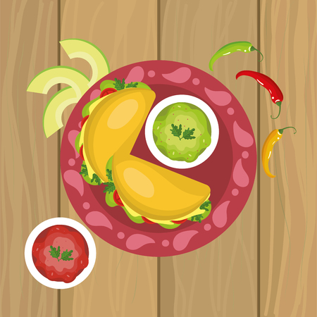 mexican tacos food with chile pepper vector illustration