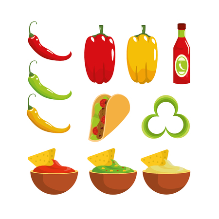 set traditional mexican sauces and chile pepper vector illustration
