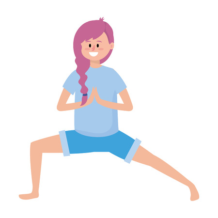 fit woman practicing yoga cartoon vector illustration graphic design