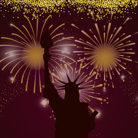 bright fireworks liberty statue cartoon vector illustration graphic design