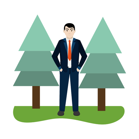 young man body over nature field with pines cartoon vector illustration graphic design
