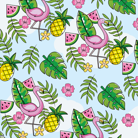 flemish with tropical fruits and leaves background vector illustration Illusztráció