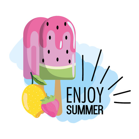watermelon ice lolly with tropical lemon vector illustration