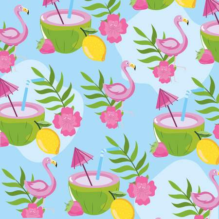 tropical fruits with flamish and leaves background vector illustration