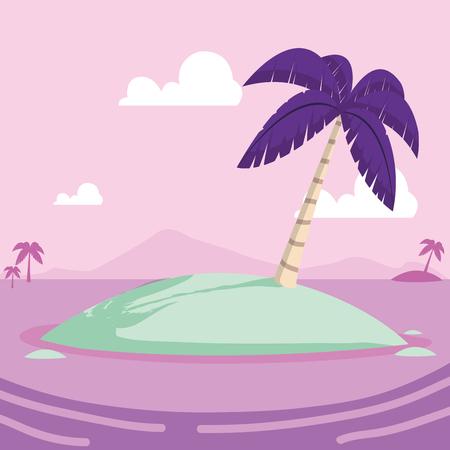 tropical little island cartoon