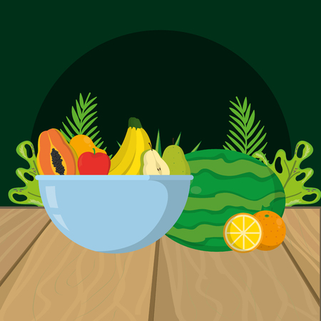 fresh fruits cartoon vector illustration graphic design