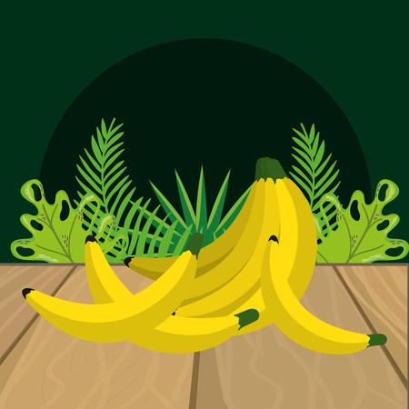 fresh fruits bananas cartoon vector illustration graphic design