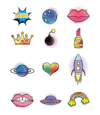 set cute patch style fashion decoration vector illustration