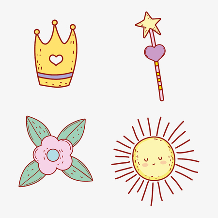 set crown with star magic wand and flower vector illustration