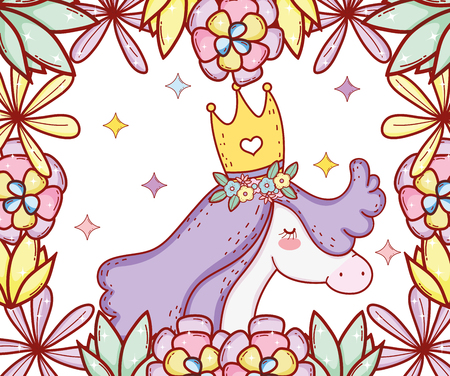 cute unicorn wearing crown with flowers and leaves vector illustration