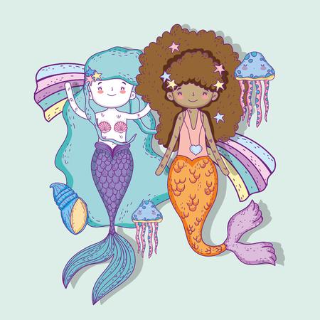 mermaids women with jellyfish and shells underwater