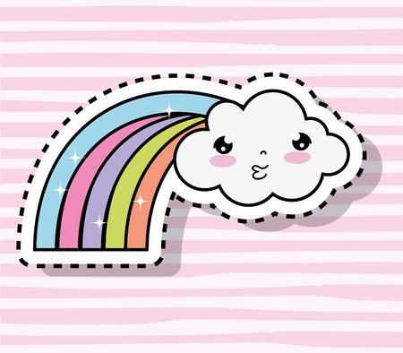 kawaii cute cloud with rainbow sticker