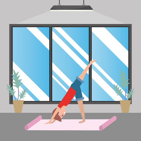fit man practicing yoga wearing red t-shirt inside gym vector illustration graphic design