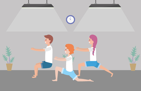 fit people practicing yoga