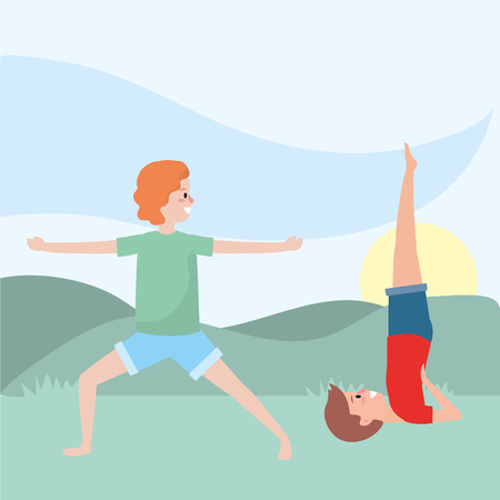 fit couple practicing over nature park cartoon vector illustration graphic design Ilustração