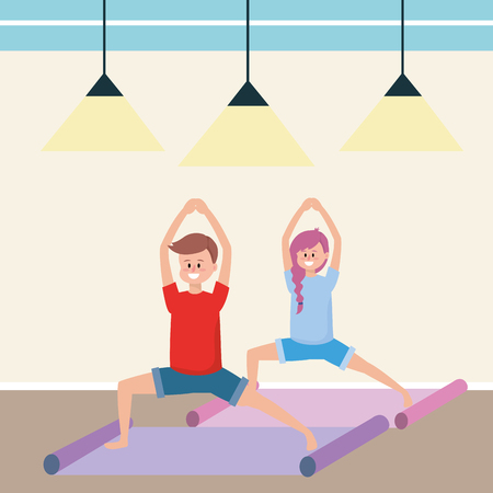 fit couple practicing yoga inside gym cartoon vector illustration graphic design