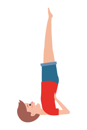 fit man practicing yoga wearing red t-shirt vector illustration graphic design