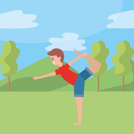 fit man practicing yoga wearing red t-shirt over nature park vector illustration graphic design