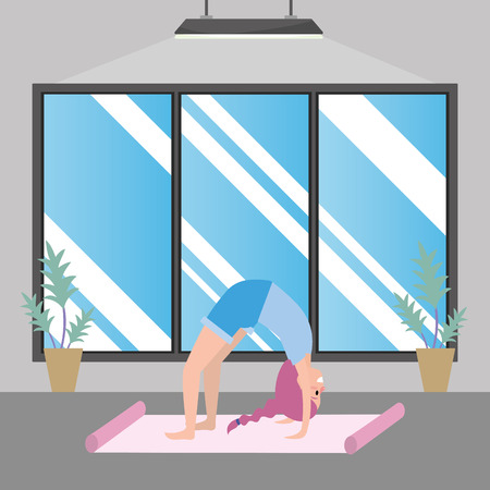 fit woman practicing yoga inside gym cartoon vector illustration graphic design Ilustração