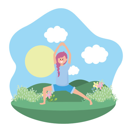 fit woman practicing yoga over nature park cartoon vector illustration graphic design