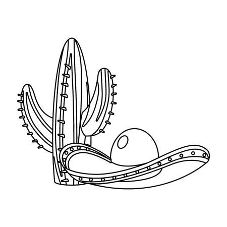 mexican icon cactus with mariachi hat cartoon vector illustration graphic design Vectores