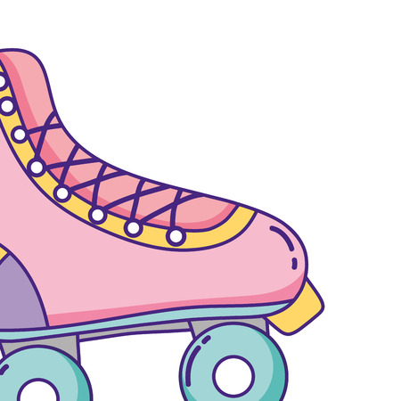 retro vintage element roller skate cartoon vector illustration graphic design