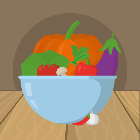 delicious fresh vegetables cartoon vector illustration graphic design Stock Illustratie