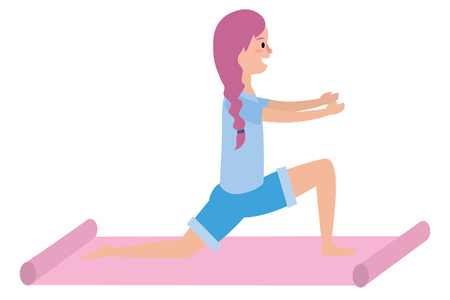fit woman practicing yoga over yoga mat cartoon vector illustration graphic design