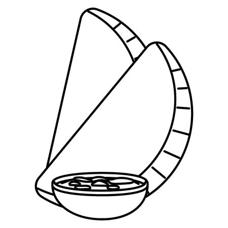 delicious mexican food empanadas cartoon vector illustration graphic design