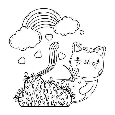 cute cat with apple fresh vector illustration design