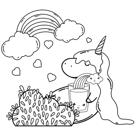 cute unicorn with clouds and rainbow  vector illustration design Ilustrace