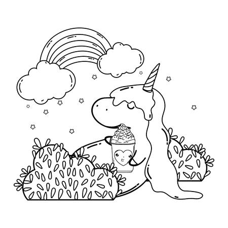 cute unicorn with clouds and rainbow kawaii vector illustration design Illustration