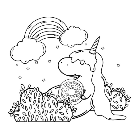 cute unicorn with clouds and rainbow kawaii vector illustration design Imagens - 127192144