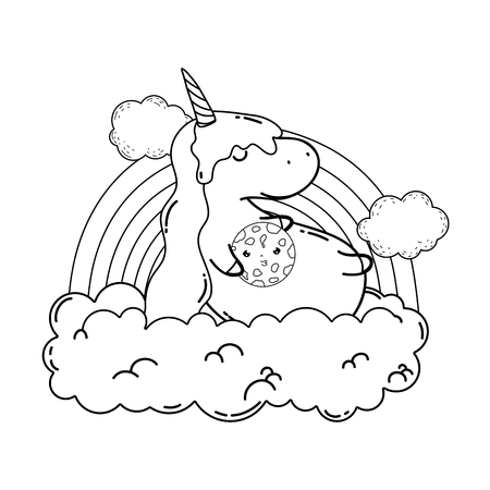 cute unicorn with clouds and rainbow kawaii vector illustration design Иллюстрация