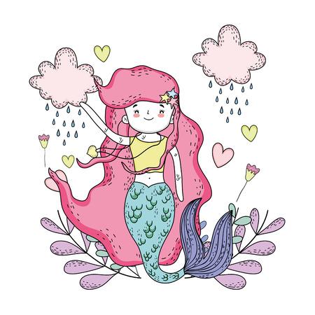 cute mermaid under sea with seaweed vector illustration design Illustration