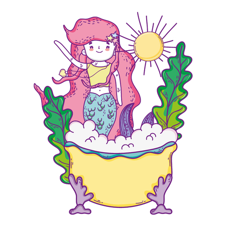 cute mermaid in bathtub character vector illustration design