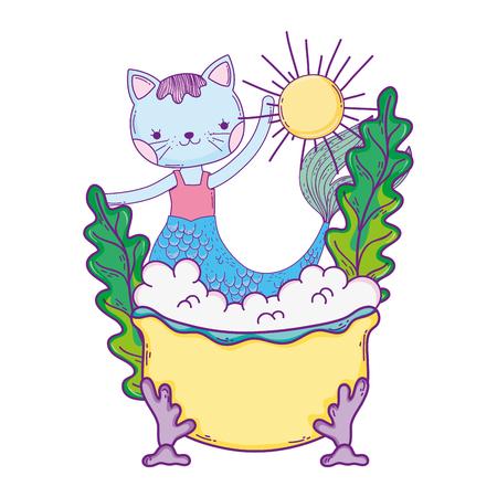 cute purrmaid in bathtub vector illustration design Illustration