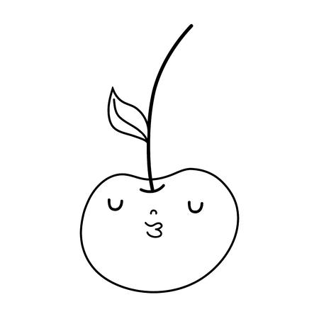 fresh cherry kawaii character vector illustration design
