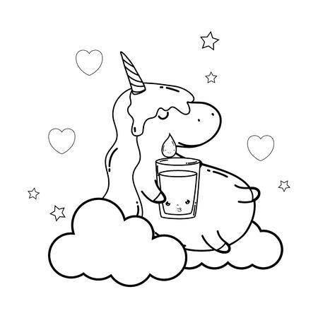 cute unicorn with water glass kawaii vector illustration design