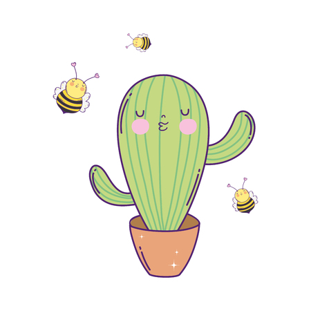 cute cactus with bees kawaii character vector illustration design