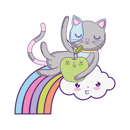 cute cat with apple fresh and rainbow vector illustration design