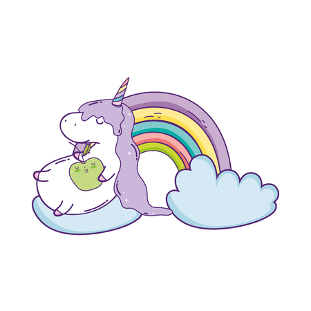 cute unicorn with clouds and rainbow kawaii vector illustration design Ilustração