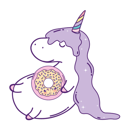 cute unicorn with donut kawaii character vector illustration design