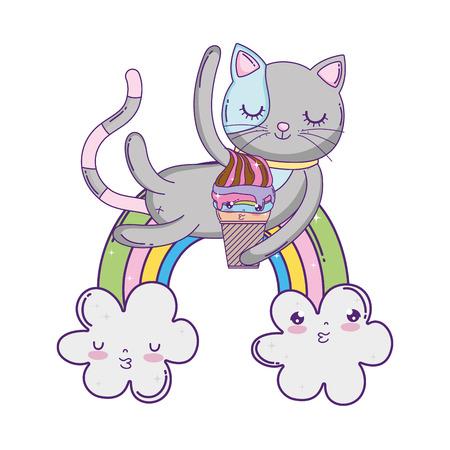cute cat with ice cream in rainbow vector illustration design