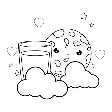 milk glass with cookie kawaii character vector illustration design