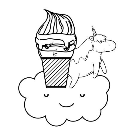 cute ice cream with cloud and unicorn kawaii vector illustration design