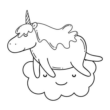 cute unicorn with cloud kawaii character vector illustration design