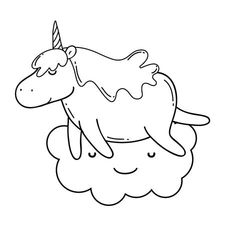 cute unicorn with cloud kawaii character vector illustration design