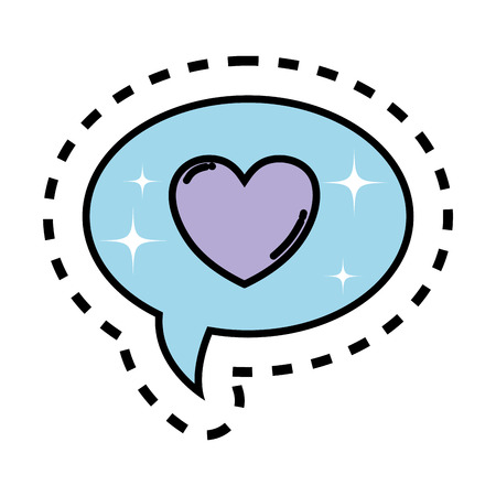 speech bubbles with heart vector illustration design